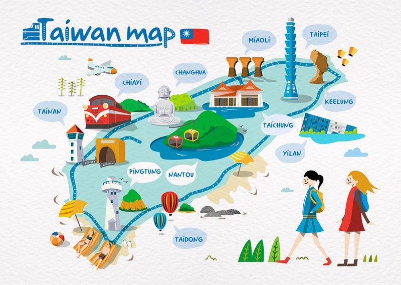 明信片 臺灣地圖插畫 - 旅遊臺灣 C - 尼森設計明信片