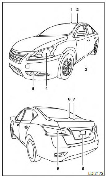 Nissan Sentra Owners Manual: Exterior and interior lights