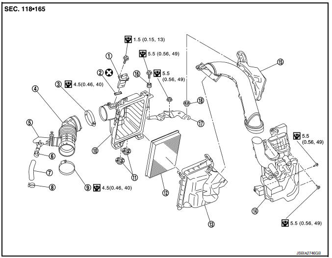 Nissan Sentra Service Manual: Air cleaner filter
