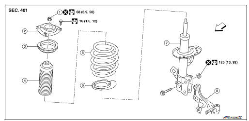 Nissan Sentra Service Manual: Front coil spring and strut