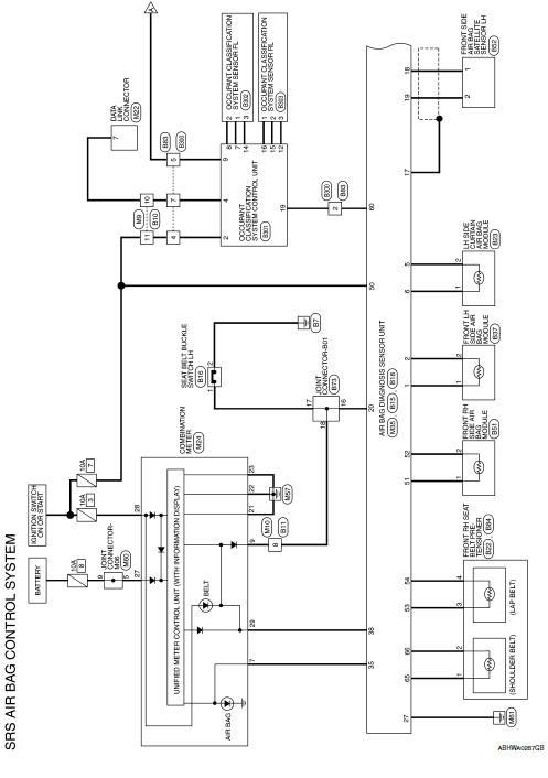 Nissan Sentra Service Manual Wiring Diagram SRS Airbag Control