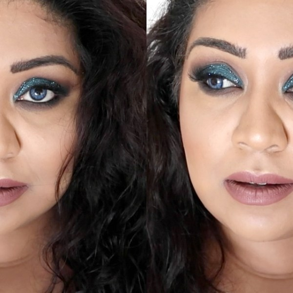 Blue Glitter Smokey eye Eid makeup tutorial www.nishiv.com