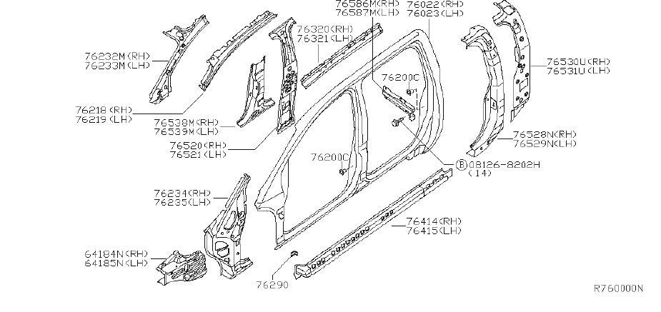 Nissan Titan Body A-Pillar Reinforcement (Left, Front
