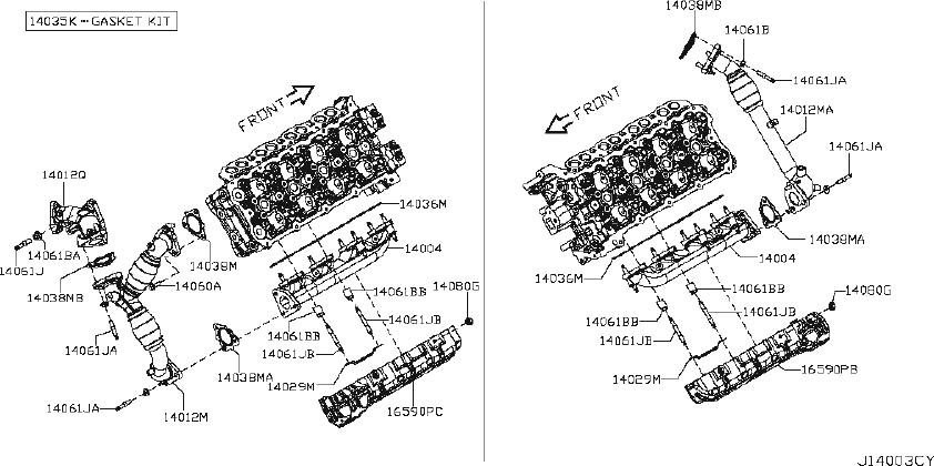 Nissan Titan Exhaust Manifold. ENGINE, INTAKE, COVER