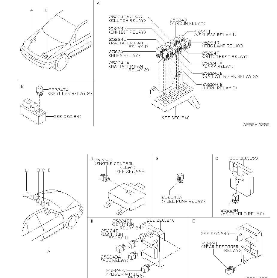 Nissan Sentra Relay Air Conditioner. Relay EGI. Relay Fog