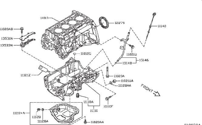 Nissan Sentra Engine Oil Dipstick Tube. COMPONENT