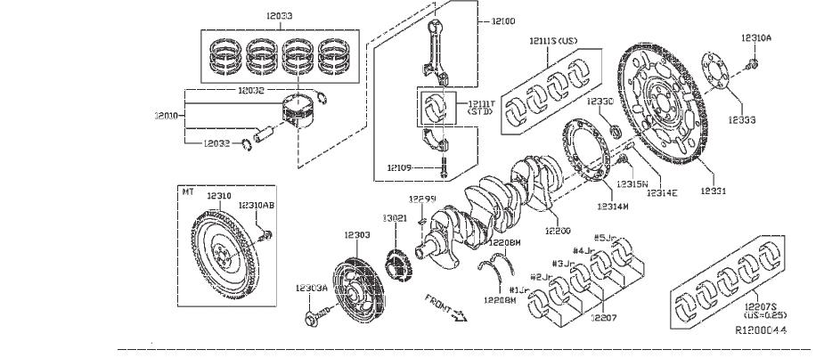 Nissan Sentra Engine Connecting Rod. BEARING, SELECT