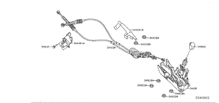 Nissan Sentra Knob Control Lever. TRANSMISSION, LINKAGE