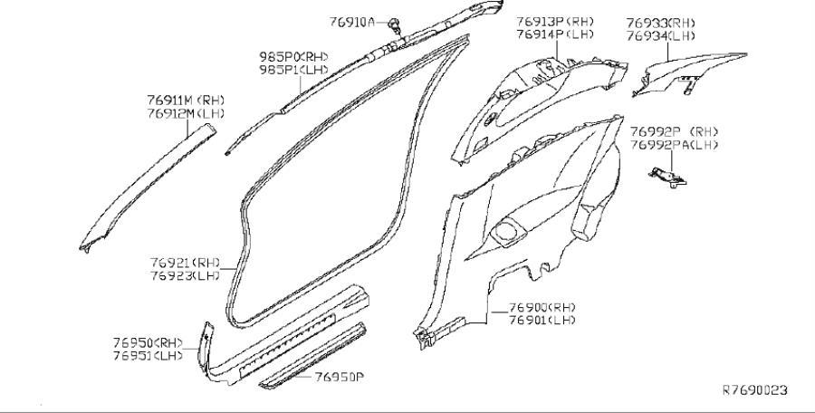 Nissan Altima Interior Quarter Panel Trim Panel (Right
