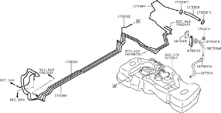 Nissan Juke Connector Emission Control Hose. FUEL, PIPING