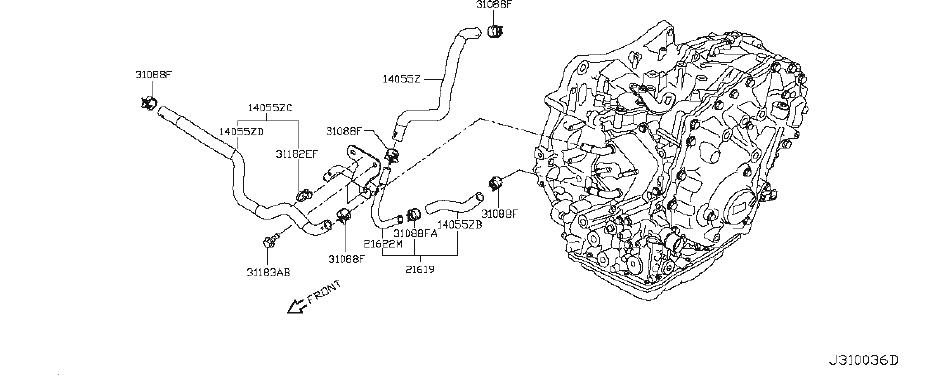 Nissan Juke Engine Coolant Hose. MCVT, FITTING, ASSEMBLY