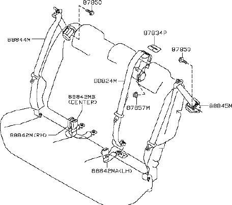 Nissan Juke Seat Belt Guide (Right, Rear). GKRX, GKRWX