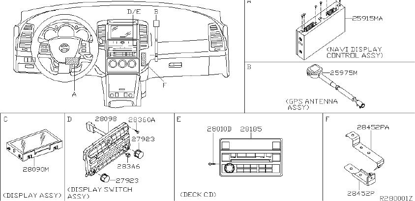 Nissan Altima Radio Control Unit. ANTENNA, AUDIO, CONV