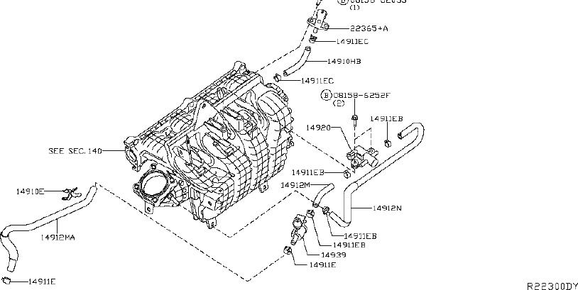 Nissan Rogue Hose Fuel Evaporation Control. EMISSION