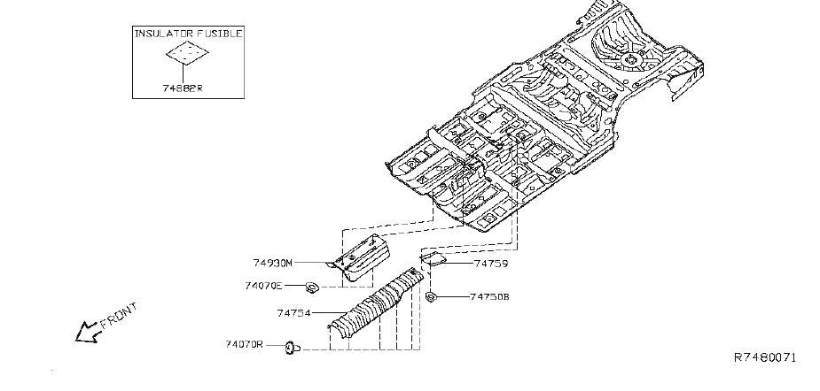 Nissan Altima Floor Pan Heat Shield (Front). PLUGS, BODY