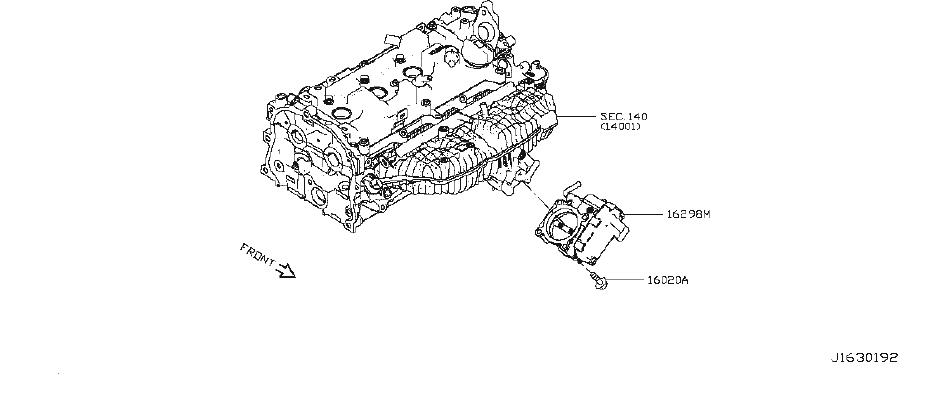 Nissan Altima Fuel Injection Throttle Body. Chamber