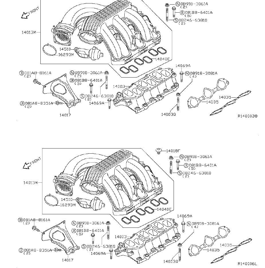 Nissan Xterra Engine Intake Manifold Bolt. EXHAUST, COVER