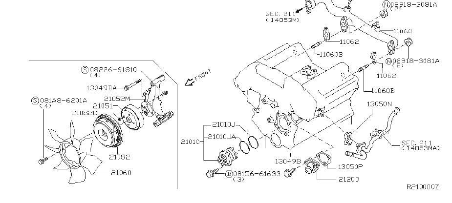Nissan Xterra Engine Cooling Fan Clutch Bracket. WATER