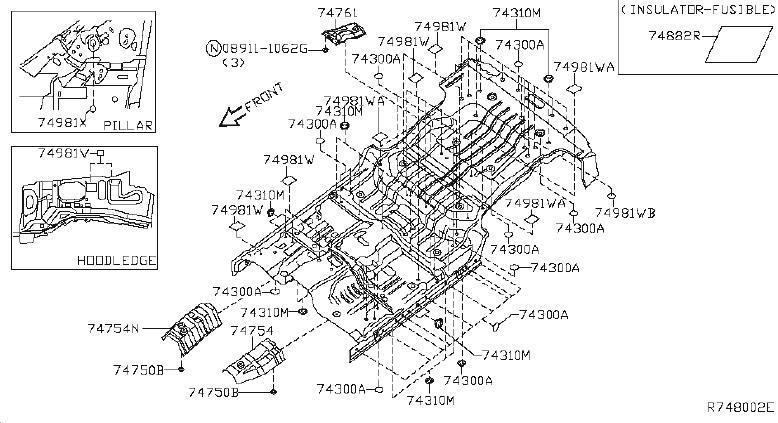 Nissan Xterra Insulator Heat, Floor R. (Right, Front
