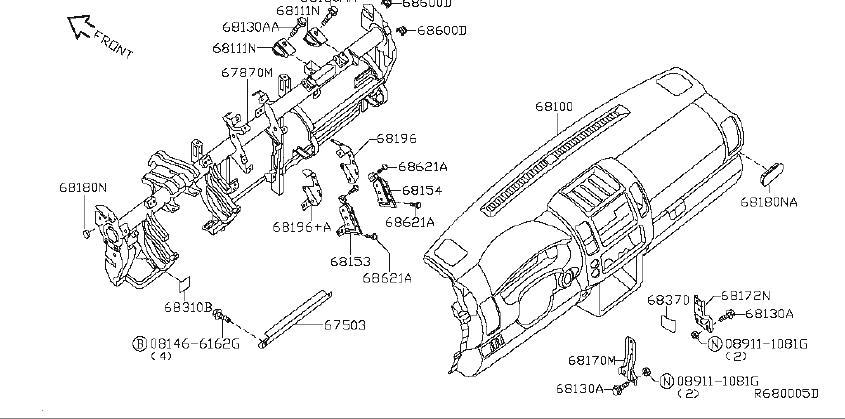 Nissan Pathfinder Instrument Panel Trim Panel. Other