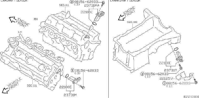 Nissan Quest Engine Camshaft Position Sensor. DISTRIBUTOR