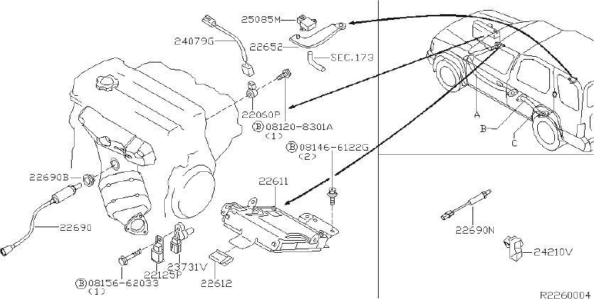 Nissan Xterra Harness Engine SUB. Harness SUB, Knock