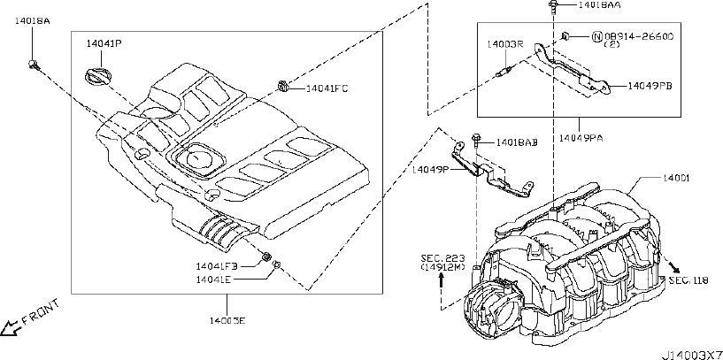 Nissan Armada Engine Cover Bracket. EXHAUST, INTAKE