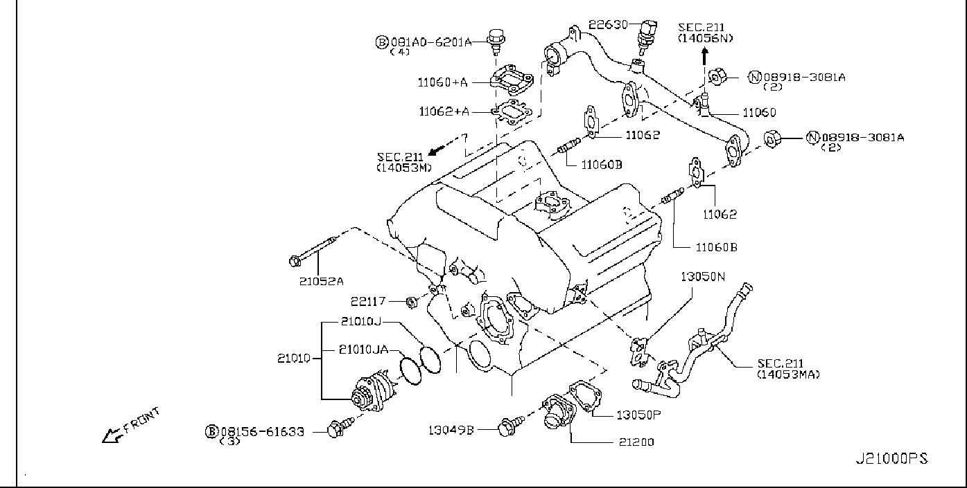 Nissan 350Z Engine Water Pump Bracket. COOLING, THERMOSTAT