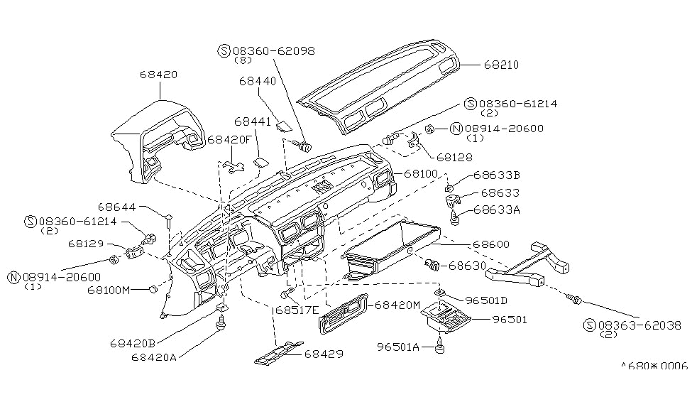 1985 Nissan Sentra Instrument Panel,Pad & Cluster Lid