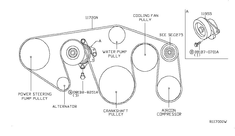 2005 Nissan Pathfinder Fan,Compressor & Power Steering Belt