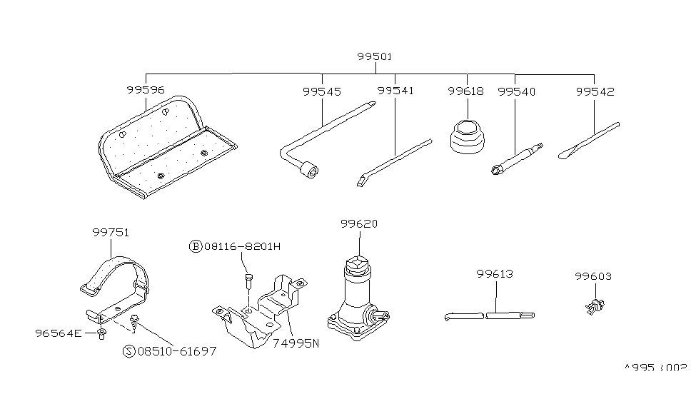 1995 Nissan Pathfinder Tool Kit & Maintenance Manual