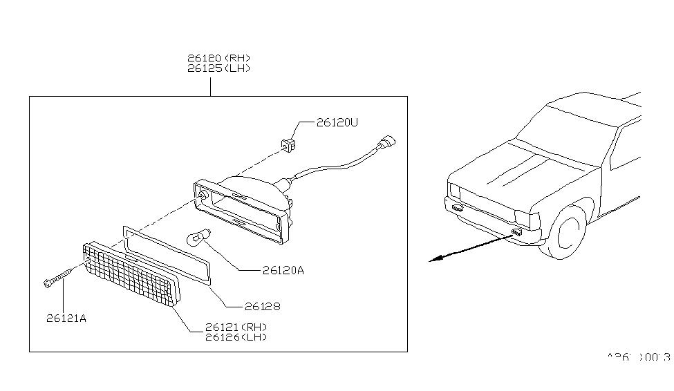 1986 Nissan Hardbody Pickup (D21) Front Combination Lamp