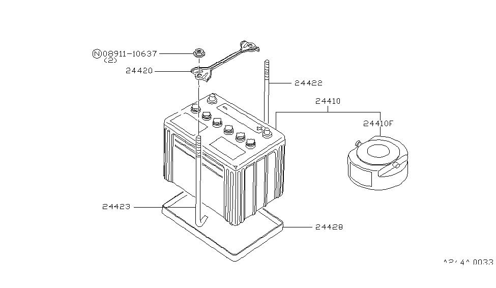 1984 Nissan 720 Pickup Battery & Battery Mounting