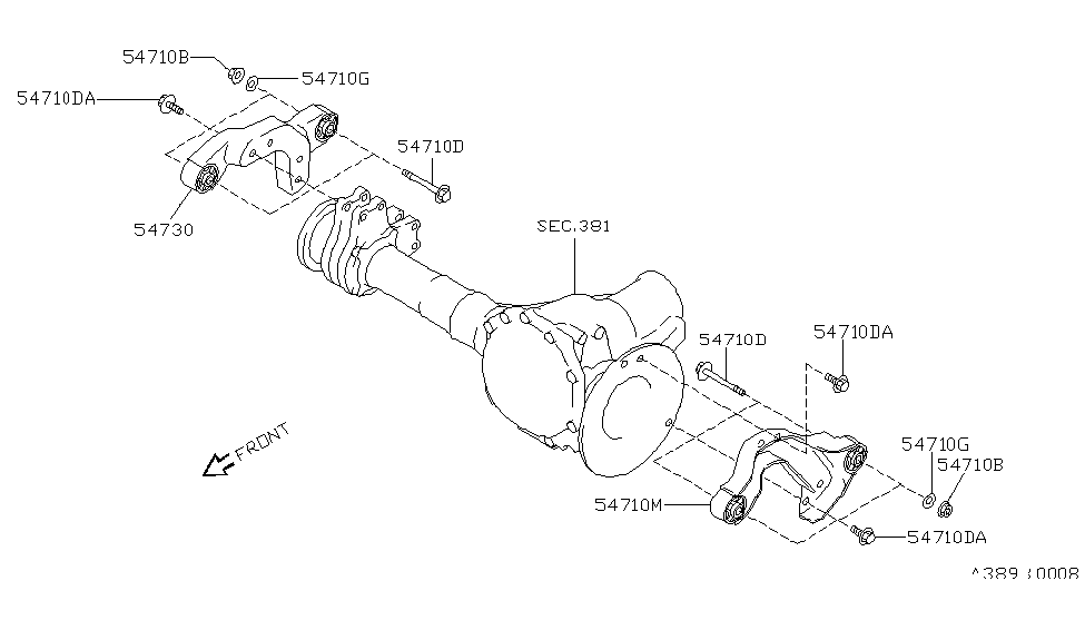 1999 Nissan Pathfinder Front Final Drive Mounting
