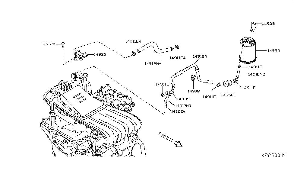 2012 Nissan Versa Sedan Engine Control Vacuum Piping