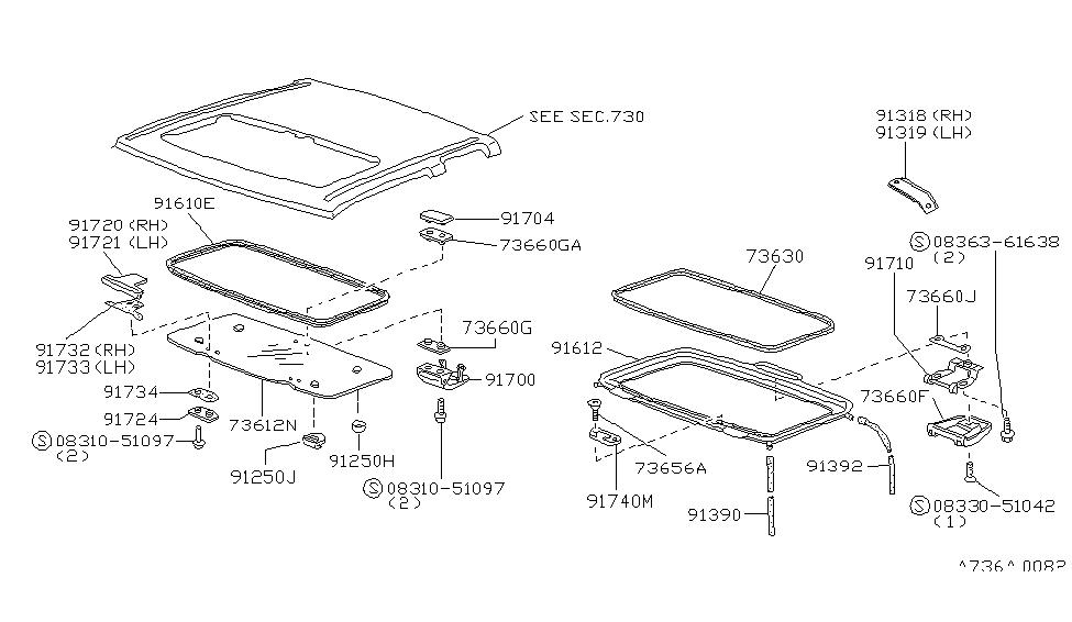 1995 Nissan Hardbody Pickup (D21U) Sun Roof Parts