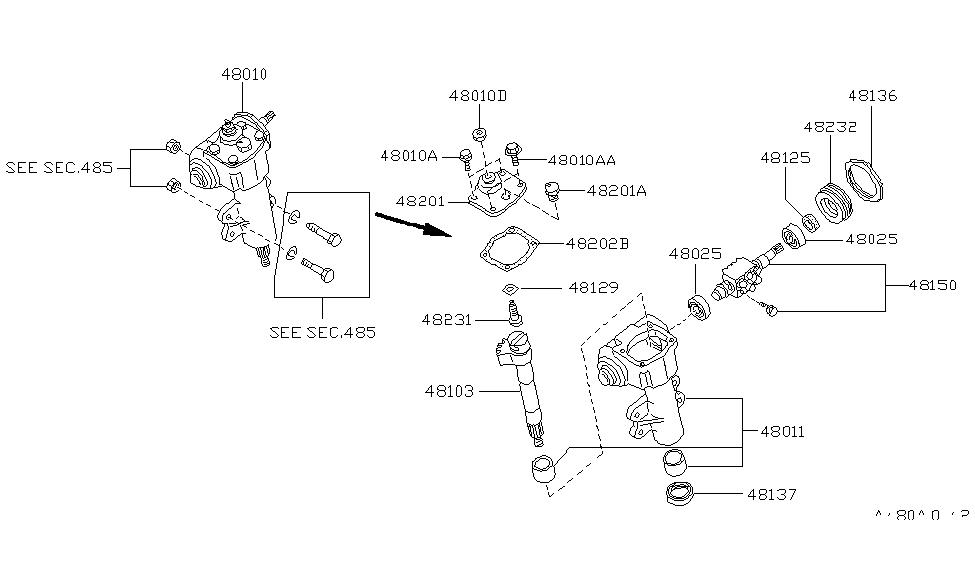 1995 Nissan Hardbody Pickup (D21U) Manual Steering Gear