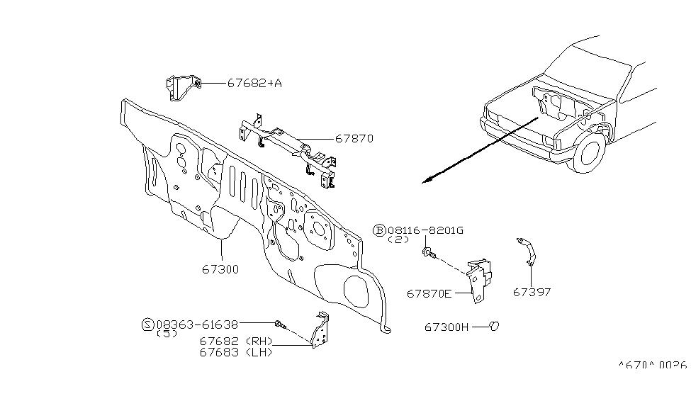 1997 Nissan Hardbody Pickup (D21U) Dash Panel & Fitting