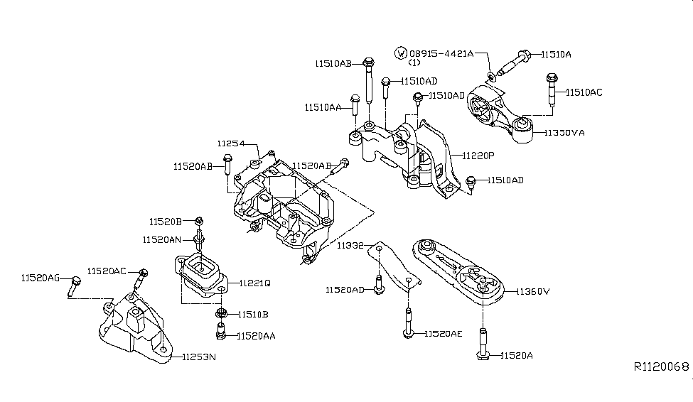 2014 Nissan Sentra Engine & Transmission Mounting