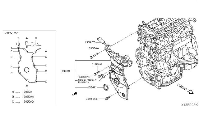 2017 Nissan Versa Sedan Front Cover,Vacuum Pump & Fitting