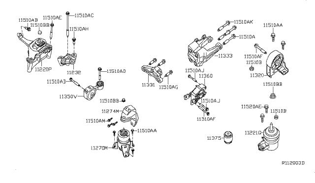 2008 Nissan Altima Hybrid Engine & Transmission Mounting