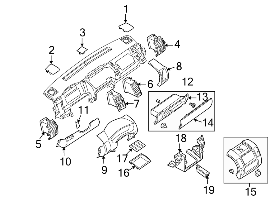 Nissan Pathfinder Instrument Panel Trim Panel. W/6-CD