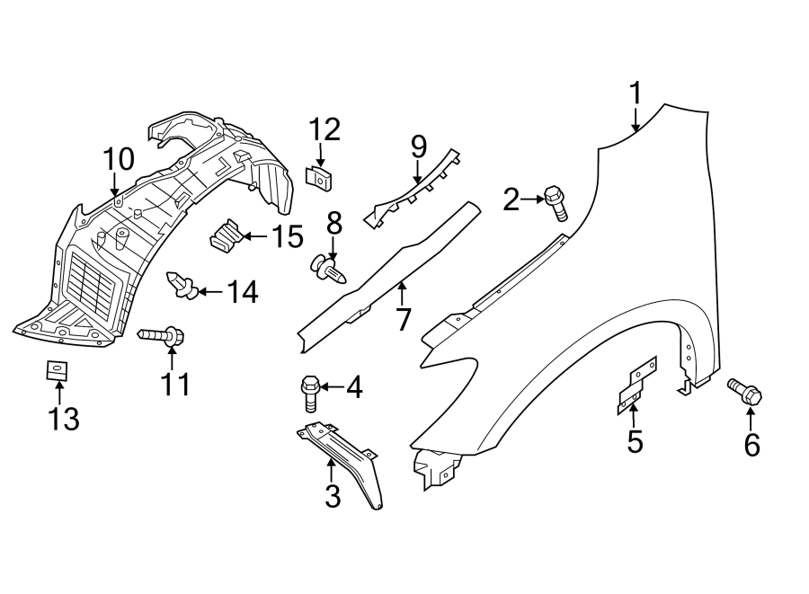 Nissan Pathfinder Fender Seal. Right, Rear, COMPONENTS