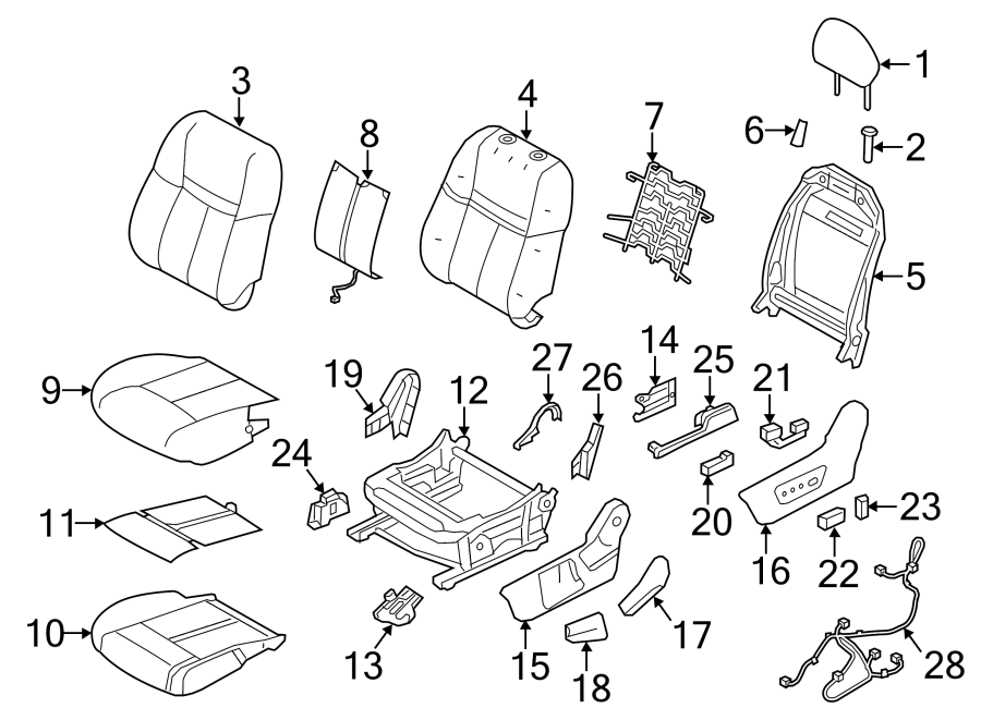 Nissan Rogue Power Seat Wiring Harness. W/O JAPAN BUILT, w