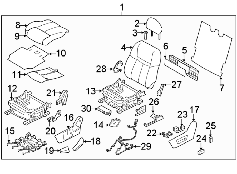 Nissan Rogue Power Seat Wiring Harness. To 01/2018, w/heat