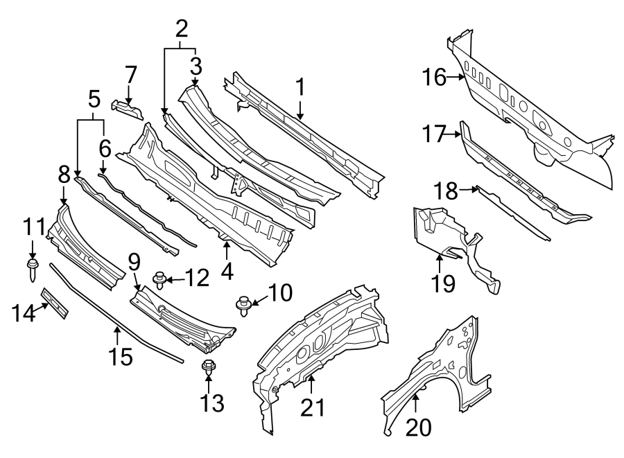 Nissan Sentra Cowl Bracket. Panel, Left, Extension, Body