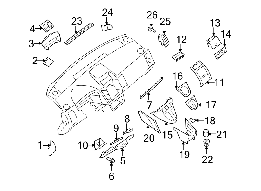 Nissan Sentra Instrument Cluster Bezel. PANEL, COMPONENTS