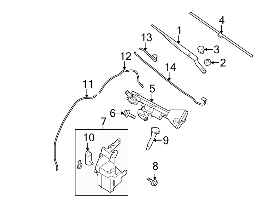 Nissan Altima Windshield Washer Nozzle. Left, Front