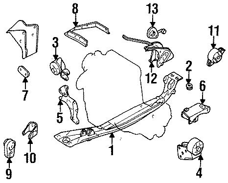 Nissan 200SX Insulator. Mount. Engine. (Front, Rear