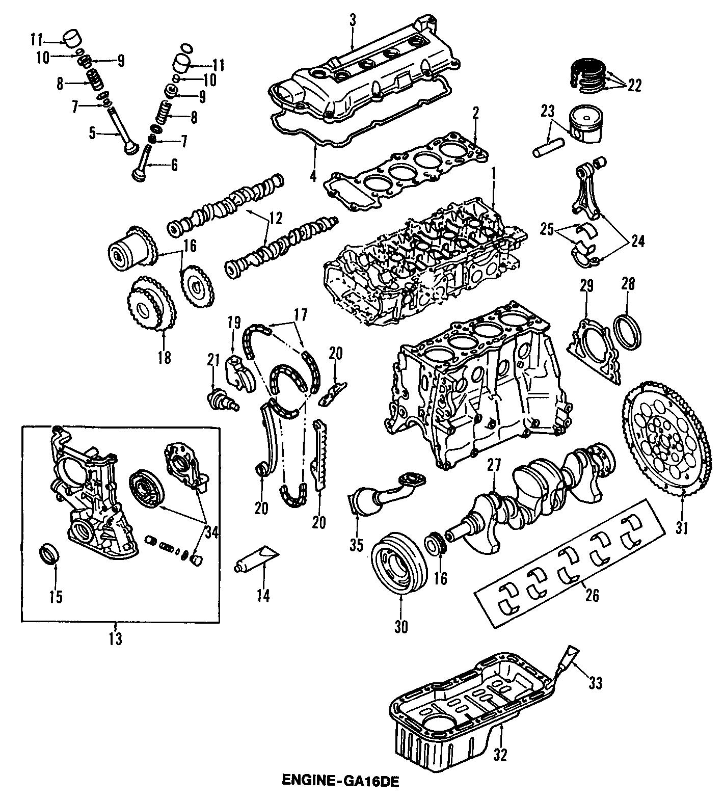 Nissan Sentra Engine Crankshaft Seal. LITER, GXE, Models